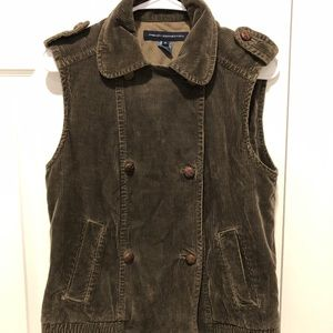 French Connection army green corduroy vest